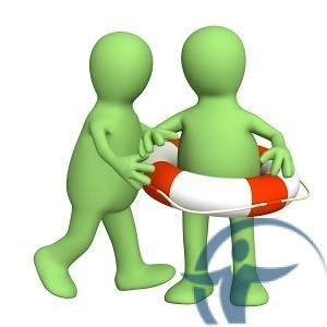 два человечка и спасательный круг-концепция страхования жизни