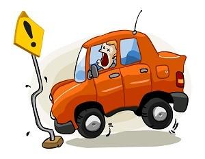 рисунок столкновение машины со столбом