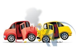 Желтый и красный авто в ДТП