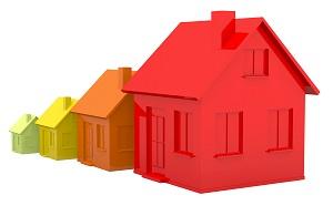 увеличение стоимости недвижимости-четыре дома каждый больше предыдущего