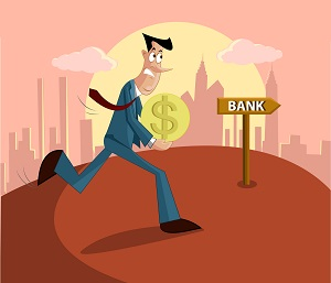 рисунок-мужчина несет деньги в банк